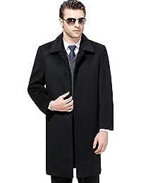 bdf4eb20eaaa1b HGDR Cappotto in Cashmere di Lana Nera Calda Invernale da Uomo Monopetto  Giacca Lunga da Uomo