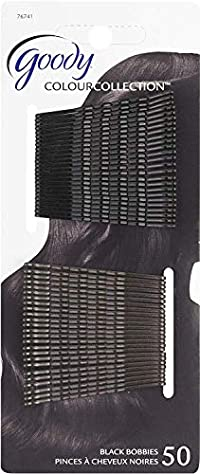 Black, 48 Count: Goody Colour Collection Metallic Finish Bobby Pin, Black, 50 Count (Pack of 3)