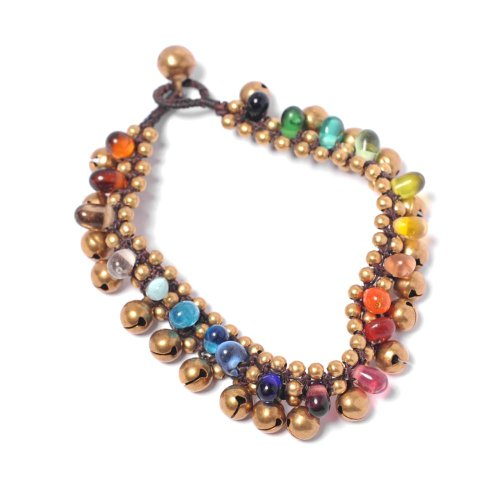 81stgeneration Women's Brass Gold Tone Rainbow Colour Glass Ankle Chain Anklet Bracelet, 25 cm