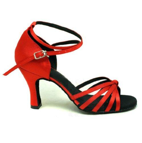 Colorfulworldstore chaussures de danse latine pour dame en satin avec cinq lanières nouées, couleur rouge classique/bronze/peau/beige/léopard Rouge