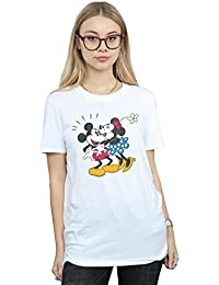 Disney mujer Mickey Mouse Mickey and Minnie Kiss Camiseta Del Novio Fit
