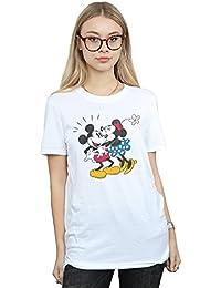 Disney mujer Mickey Mouse Mickey and Minnie Kiss Camiseta Del Novio Fit