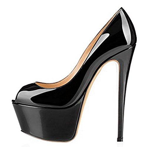 EKS Damen Peep Toe High Heel Pumps Schuhe Plattform Schwarz