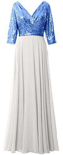 MACloth Women 3/4 Sleeve V Neck Mother Dress Sequin Chiffon Wedding Formal Gown Blue-Ivory
