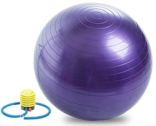 qunlei Gymnastikball für Fitness, Stabilität, Balance & Yoga Ball und Bürostuhl-65 cm Balance Geburtsball mit Quick Pumpe (Office & Home & Gym) - Extra dick &Anti Burst unterstützt luftfahrqualität, blau