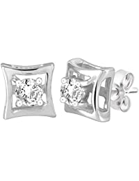 Peora Viola Solitaire Ring Studs In 925 Sterling Silver CZ For Women