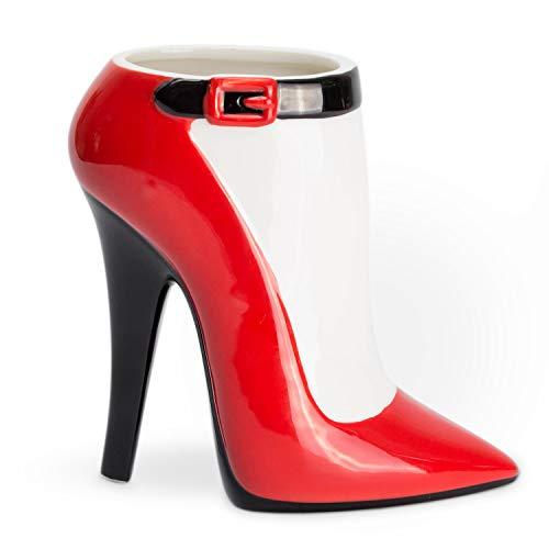 el & groove 3D Porzellan High Heel groß rot schwarz, Kaffee-Tasse 350 ml (450ml randvoll), Tee-Tasse Stiletto aus Porzellan in rot schwarz, Schminktisch Halter, Deko Geschenke für Frauen und Mädchen
