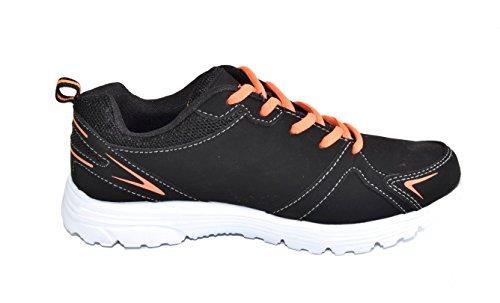 TMY 6146–21 chaussures de sport légère pour homme et femme, couleur :  noir/orange, taille :  36 Multicolore - Black/ Orange