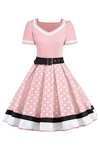 MisShow Damen elegant V Ausschnitt Rockabilly Kleider Damen Petticoat Retro Kleid Festliches Partykleider Polka Dots Cocktailkleider Rosablau ()