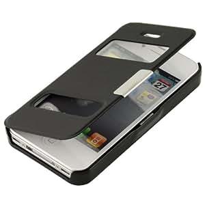 N06- Schwarz Flip Cover mit Sichtfernster für Apple iPhone 4 4S Schutzhülle Hülle Schale Handytasche Etui Case S-View