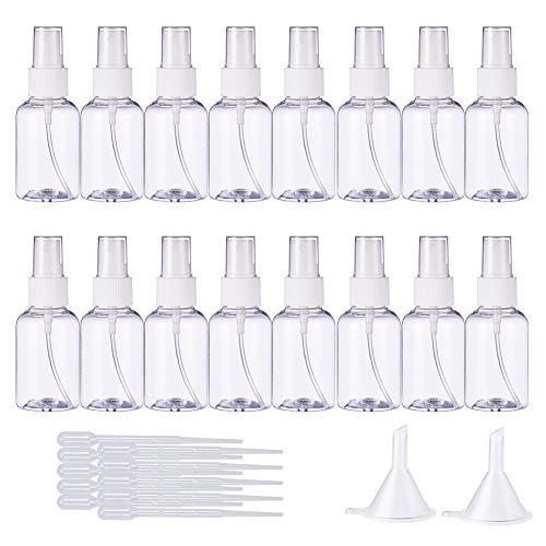 BENECREAT 20 Pack 50ml Trasparente Bottiglia di plastica Vuoto Spray Nebbia Spray con dripper e imbuto di trasferimento liquidi Comodo contenitore riutilizzabile per oli essenziali, prodotti di bellezza biologici, detergenti fatti in casa e aromaterapia