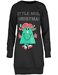 Womens Ladies Xmas Snowman HO HO HO Print Full Sleeves Long Sweatshirt Dress