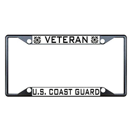 Veteran U.S. Coast Guard Black Metal License Plate Frame Holder Four Holes by Fastasticdeals - Coast Guard License Plate