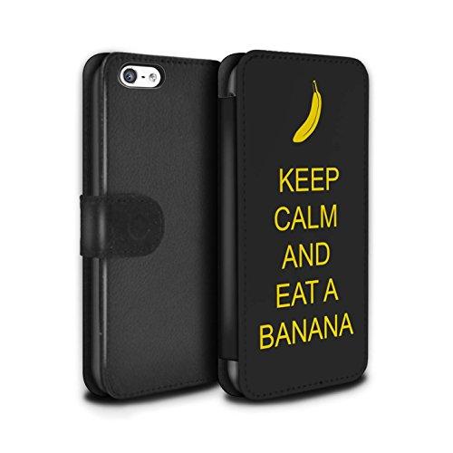 Stuff4 Coque/Etui/Housse Cuir PU Case/Cover pour Apple iPhone 5C / Pousser Moustache/Vert Design / Reste Calme Collection Manger une Banane/Jaune
