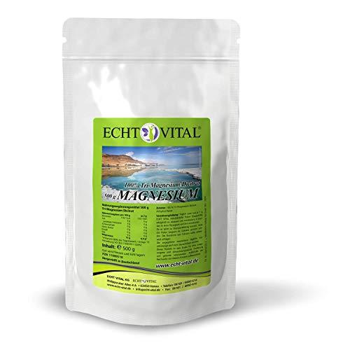 ECHT VITAL MAGNESIUM - Tri-Magnesium Dicitrat - 1 Beutel / 500 g - 100% Tri-Magnesium Dicitrat Anhydrat Pulver - 100% Pulver
