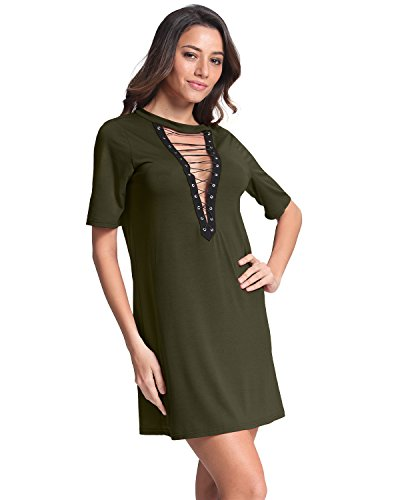 StyleDome Femme Mini Robe Tunique Col V Manches Courtes Casual Sexy Robe de Soirée Cocktail Club Vert 504305