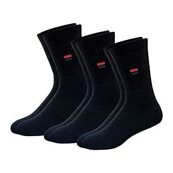 NAVYSPORT Men's Cotton Calf-Length Socks (Black) - Pack of 3