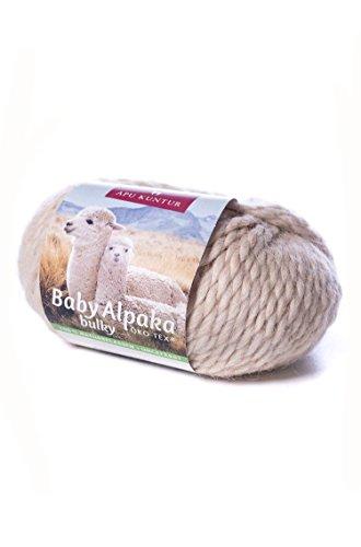 Baby-Alpaka Woll-Knäuel BULKY 50g 50m Nadel 8 Strick-Häkel-Garn APU KUNTUR beige
