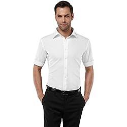 Vincenzo Boretti Camisa de Hombre, Manga-Corta, Ajustada Entallada (Slim-fit), 100% algodón, Cuello Kent, Lisa - no Necesita Plancha Blanco 39/40