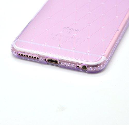 Glitter Étui Housse pour iPhone 7 / iPhone 8 (4.7 pouces) + [Support d'Anneau], Bonice Cristal Clair Miroir Cas Case avec 360 Degrés Rotation Bague, Luxe Bling Sparkle Strass Souple Soft Gel TPU Caout D - Violet