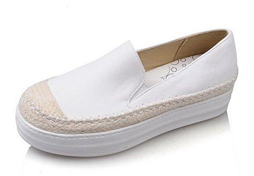 AgooLar Femme à Talon Correct Couleur Unie Tire Matière Souple Rond Chaussures Légeres Blanc
