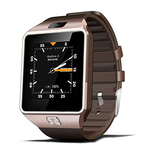 ZJTA Dz09 Smart Watch, Touch Screen Cell Phone with SIM Card Slot Smart Watches Fitness Tracker Unlocked Universal GSM Bluetooth Compatible Android and Ios,Metallic Unlocked Touch Screen Cell Phone