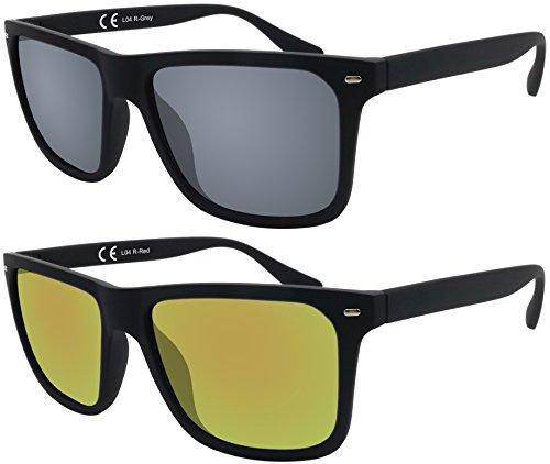 Sonnenbrille La Optica UV 400 Herren Männer Jugendliche Eckig - Doppelpack Gummiert Schwarz (Gläser: 1 x Grau, 1 x Rot verspiegelt)