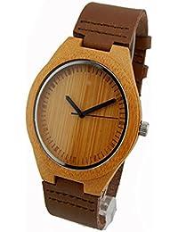 Reloj de madera Correa de cuero genuino de bambú de la madera reloj de la correa de bambú reloj de manera Hombres y reloj de las mujeres b