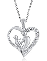 Silvernshine 18K White Gold Over Clear Sim Diamond Accent Mother & Child Heart Pendant Necklace