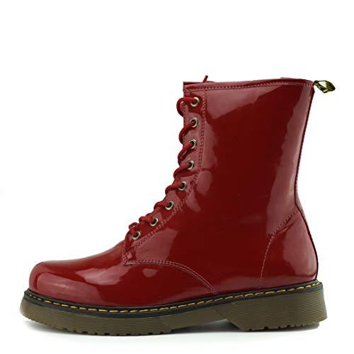 Kick Footwear Señoras Tobillo Retro Botas de Combate de Las Mujeres de Encaje Funky Vintage Gótico Botas de Tobillo - UK3/EU36, Roja de Patentes