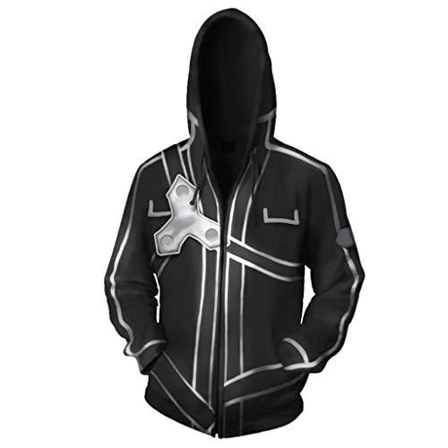 Yujingc Schwert Art Online 3D Gedruckt Anime Hoodie Sport Sweatshirt Unisex Cosplay Pullover Reißverschlusstaschen Jumper Erwachsenen Mantel,Black,2XL (Verschiedene Arten Von Spider Mann Kostüm)