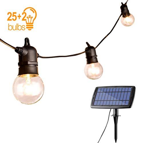 Catena Luminosa Lampadina,Sunix Illuminazione Giardino Luci Stringa Lampadina con 25 G40 Impermeabili Bulbi di Luci al LED ad Energia Solare per Natalizie (Lampadine 25w + 2 Lampadine di Ricambio)