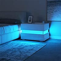 Homeaning White Bedside Cabinet Tables Nightstand Unit Chest of 2 Drawers High Gloss RGB LED Lights Modern Bedroom Furniture