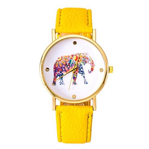 Fashion relojes cinturón ordinario relojes reloj elefante impresión ginebra relojes amarillo
