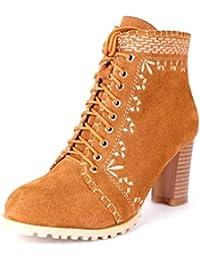 Botines para mujer, botines de tobillo bordados por el viento nacional nuevos de cuero de