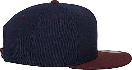 Yupoong Flexfit Unisex Kappe Classic Snapback 2-Tone, zweifarbige blanko Cap mit geradem Schirm, One Size Einheitsgröße für Männer und Frauen, Farbe nvy/maroon - 4