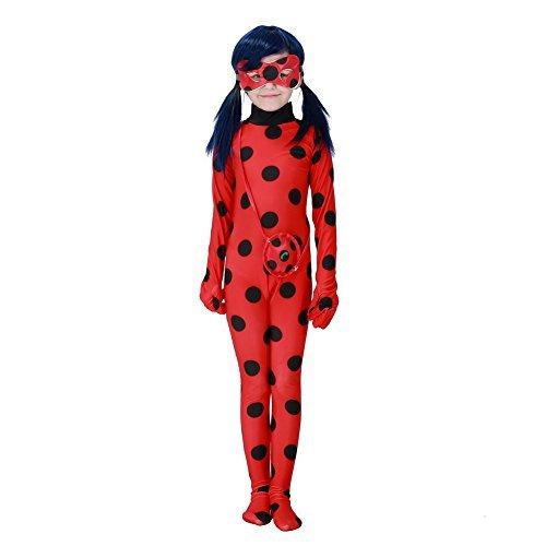 Hallowmax Mädchen Halloween Cartoon Ladybug Marienkäfer Hüfthalter mit Päckchen Party Cosplay Kostüm