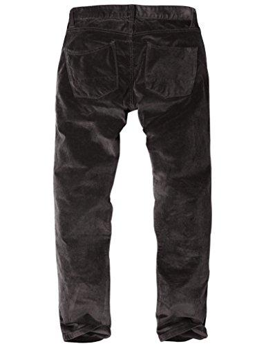 ... Match Herren Slim-Tapered Flat-Front Casual Kord Hose #8052 8052 Dunkel  grau ...