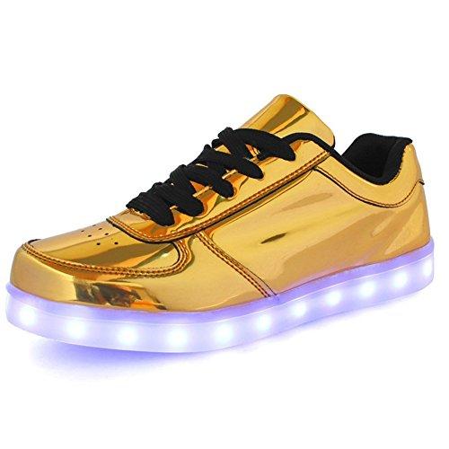 Scarpe Sneaker Ageronger Unisex Led Lampeggiante Oro Carica Oro