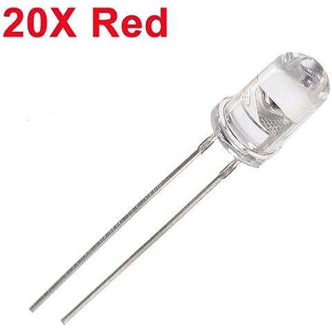20pcs 5mm 3000-6000mcd LED brillante luz de la decoración de la antorcha roja del juguete.