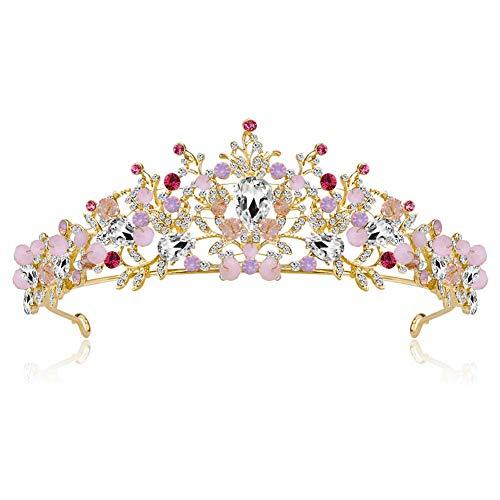 ut Crown Frauen hohlen Kopfschmuck scheint Prom Hochzeit rosa Krone Strass Dekor ()