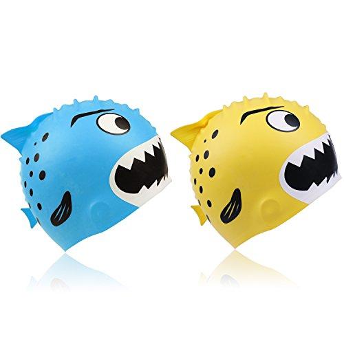Fourheart cuffie da nuoto in silicone impermeabile per bambino 3-12 anni (2 pezzi) (2 x squalo (blu + grigio)) il miglior regalo per san valentino