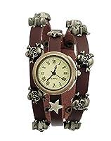 Godagoda Antique Bronze Color MultiLayer Artificial Leather Bracelet Wirst Watch Skull Coffee