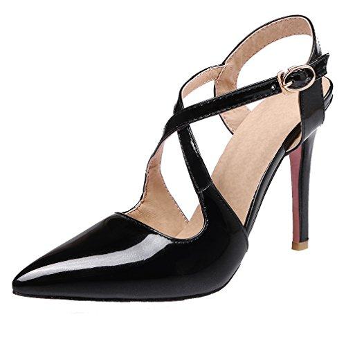 YE Damen Spitze Ankle Strap High Heels Stiletto Lackleder Pumps mit 10cm Absatz Party Elegant Kleid Schuhe Schwarz