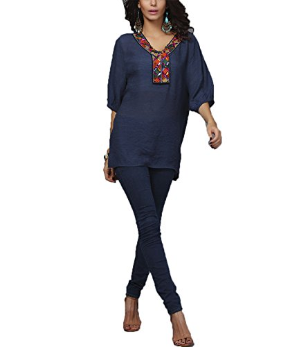 DINGANG® Damen Stickerei Muster V-Ausschnitt Halbarm Beiläufige Lose Bluse Hemd Oberteile T-Shirt Blau