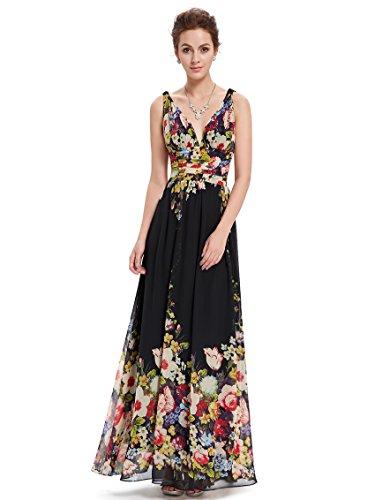 Ever Pretty Damen V-Ausschnitt Lange Chiffon Abendkleider Festkleider 40 Schwarz Und Blumen
