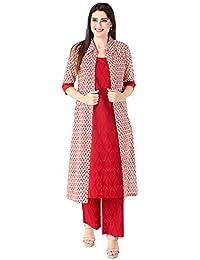 KHUSHAL K Women's Cotton Printed Kurta with Palazzos and Jacket Set