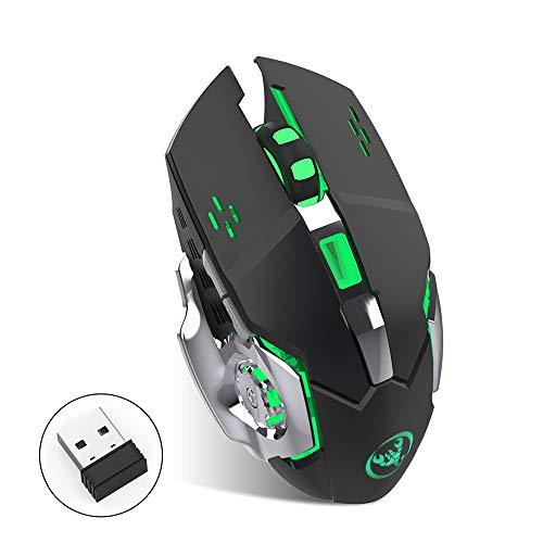 Gaming Maus Kabellos, Wireless Bluetooth Optische Mouse 2.4G 2400 DPI Einstellbare USB Gaming Silent Funkmaus mit Cool Atmungslicht Die Kapazität des eingebauten Akkus kann 600 mA erreichen