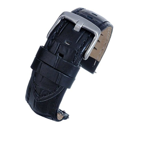 18mm Black Mock Croc Grain Padded Genuine Leather Watch Strap Band inc Quick Release Spring Bar - Black Stitch