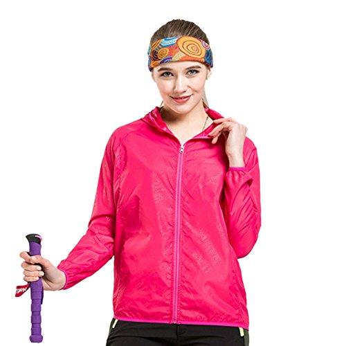 Léger Windbreaker de femmes actives à capuchon extérieur Manteau de course Sport Jacket Fuschia